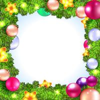 Weihnachtskranz mit Kugeln und Weihnachtsbaum,