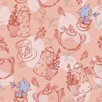 vintage te porslin. sömlöst mönster vektor