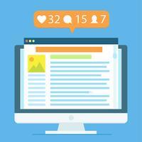 Der Arbeitsplatz eines Bloggers oder eines Arbeitskollegs vektor