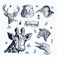 Handdragen djur Illustrationsuppsättning