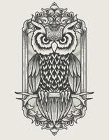 Abbildung Vintage Eule Vogel Monochrom-Stil vektor