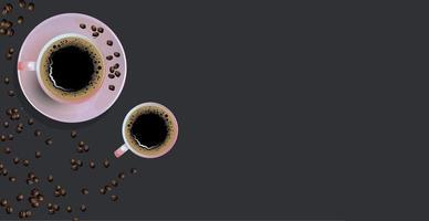 Kaffeehintergrund mit realistischer Tasse Kaffee - Vektor