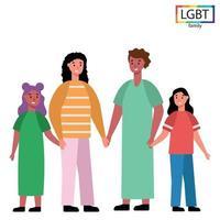 LGBT-Familie zwei Mütter und zwei Töchter - Vektor