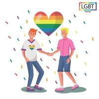 LGBT-Familie zwei Männer halten sich an den Händen - Vektor