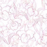 Nahtloses Retro Muster mit Orchidee