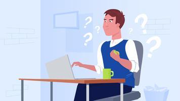 Ein freiberuflicher Mann arbeitet an einem Computer vektor