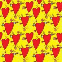 Nahtloses Muster mit Herzen und Blumen mit einer Gekritzel-ähnlichen Grafikskizze vektor