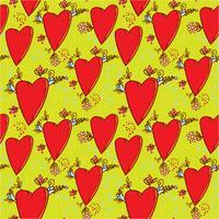 Seamless mönster med hjärtan och blommor med en grafisk skiss i doodle-stil