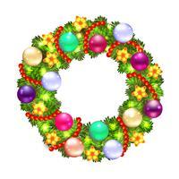 Julkrans med gran och holly vektor