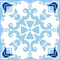 Portugisiska azulejoplattor. Blå och vit underbar sömlös patte