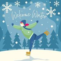 Eislaufsport im Winter vektor