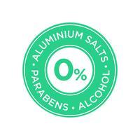 Aluminiumsalze, Parabene und alkoholfreies Symbol.