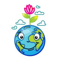 Lächelnde Kugel (Erde) im Karikaturgekritzel vektor