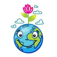 Leende jordklot (Earth) i tecknad doodle vektor