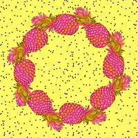 Ananas kreativ trendig konstkrans. vektor