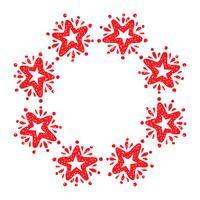 Julstjärna krans isolerad på vit bakgrund