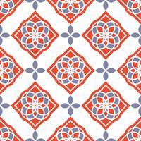 Portugiesische Azulejo-Fliesen. Rote und weiße wunderschöne nahtlose Muster.