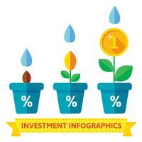 Infographics av blommor i krukor, visar tillväxten vektor