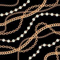 Seamless mönster bakgrund med päron och kedjor guld metallisk halsband. På svart. Vektor illustration