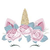 Unicorn söt catroon karaktär med blomman krans och guld glitter element. För födelsedag, baby shower, kläder och affischer design.