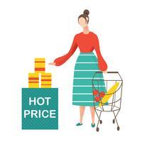 Junge Frau, die das Einkaufen tut und Produkte am Supermarkt wählt.