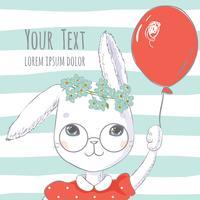 Söt kanin eller kaninflicka med röd ballong vektor
