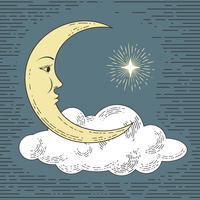Färgad handgjord måne med moln och stjärna. Stylized som gravyr. Vektor