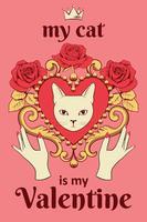 Valentinstag Karte Konzept. Weißes Katzengesicht im dekorativen Weinleseherzen formte Rahmen mit den Händen und Text auf Rosa.