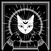 Schwarze Katzen, Katzengesicht mit Mond am Nachthimmel mit dekorativem rundem Rahmen. Magisches, okkultes Design.
