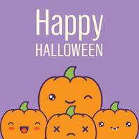 Halloween kort med kawaii pumpor. Vektor illustration