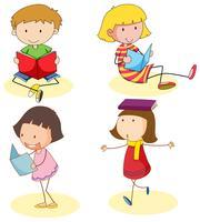 Pojke och tjejer läser bok