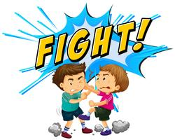 Zwei Jungen, die mit Worthintergrund kämpfen