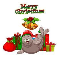 Weihnachtsthema mit Siegel und Geschenken vektor