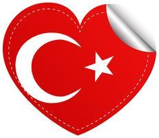 Klistermärke design för Turkiet flagga i hjärtform vektor