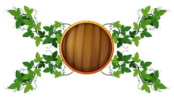 Etikettenvorlage mit rundem Holzschild und Rebe