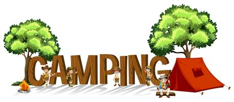 Font design för ord camping med barn och tält