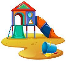 Spielplatz mit Rutsche und Spielzeug vektor