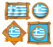 Greklands flagga i olika ramar