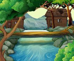 Gamla stugor vid floden