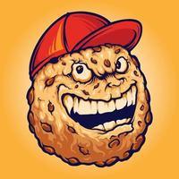 smiley schokoladenplätzchen keks hut maskottchen illustrationen vektor