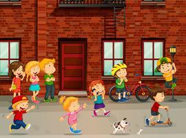 Barn som leker på vägen vektor