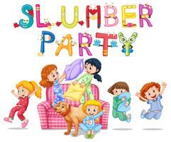Slumparty med flickor i pyjamas hemma
