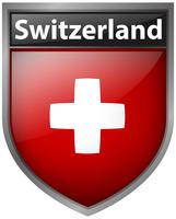 Schweiz flagga på emblemdesign vektor