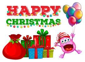 Jul tema med främmande och ballonger vektor
