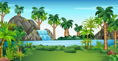 Scen med vattenfall och sjö