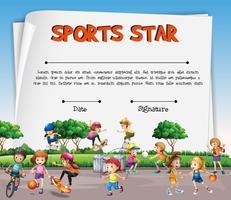 Sportstjärna certifikatmall med barn som spelar sport vektor