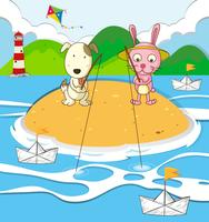 Hund och kanin som fiskar på ön vektor