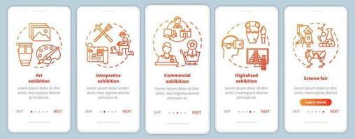 Ausstellungs- und Museums-Onboarding-Bildschirmvorlage für mobile App-Seiten vektor