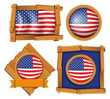 Amerikanska flaggan på olika ramar