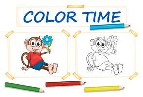Färgsmall med apa och blomma vektor